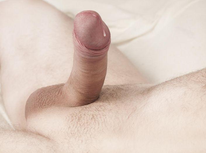 Голый парень дрочит хуй и сперма вытекает из залупы